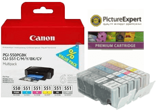 Canon PGI-550 & Canon CLI-551 Ink Cartridges and Refill Kits